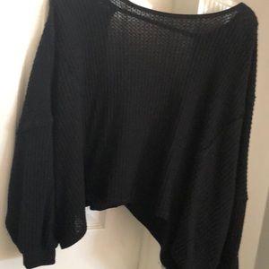 Open back waffle sweater